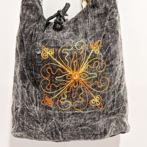 Acid wash / Aztec Reversible hippie crossbody bag